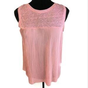 Zaraknit Pink Pleated Sleeveless Tank Sz M